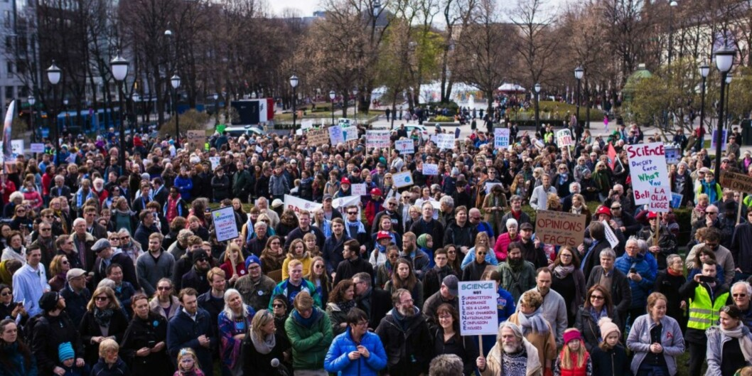 March for Science ble arrangert i Oslo ifjor, men i år var det ingen marsj her. Foto: Siri Øverland Eriksen