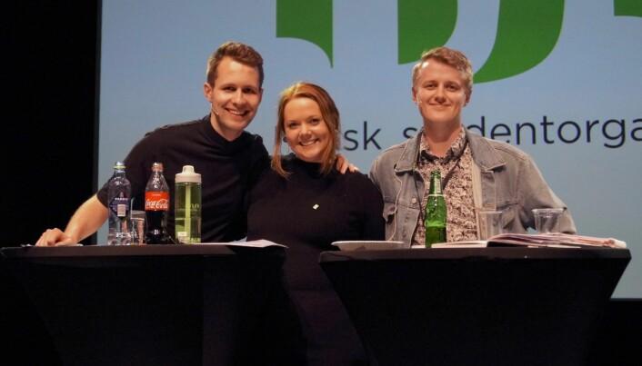 Bildet er fra lederdebatten på landsmøtet til Norsk studentorganisasjon i 2018. F.v.: Kai Steffen Østensen, Ida Austgulen og Håkon Randgaard Mikalsen