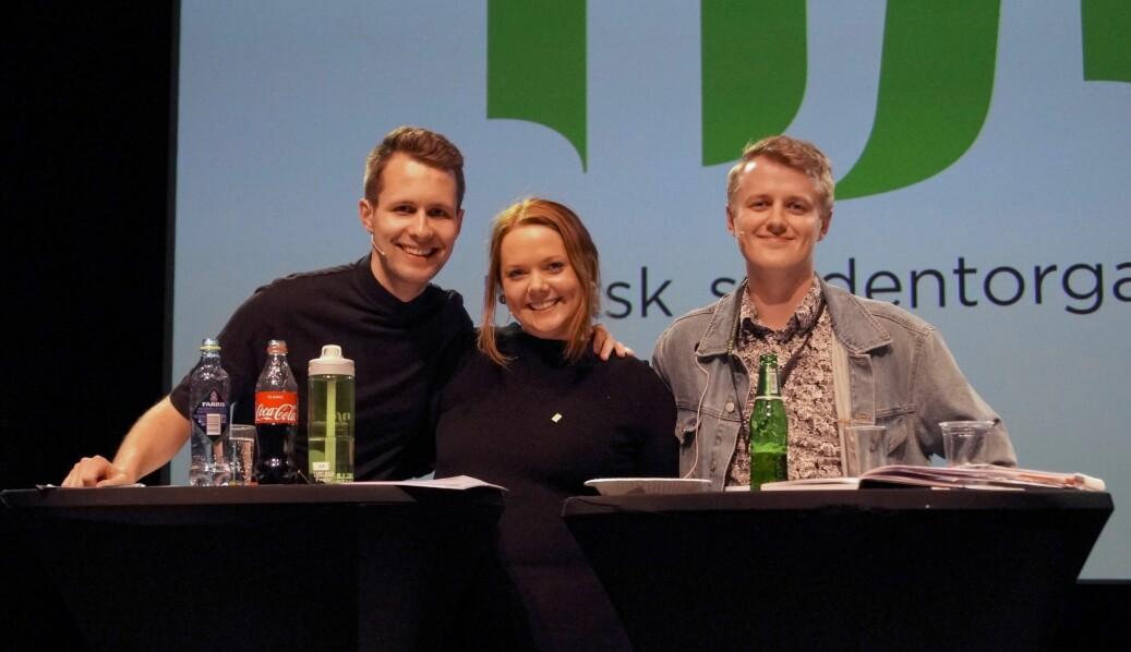 Lederkandidatene Kai Steffen Østensen, Ida Austgulen og Håkon Randgaard Mikalsen møtes i kveld til siste debatt. Foto: Øystein Fimland