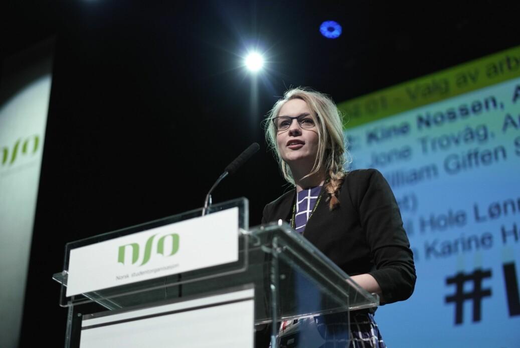 Kine Nossen trakk seg fra arbeidsutvalget i Norsk studentorganisasjon (NSO) etter at hun ble valgt inn sist helg. Hun har vært sju år i studentpolitikken . Foto: Ketil Blom Haugstulen
