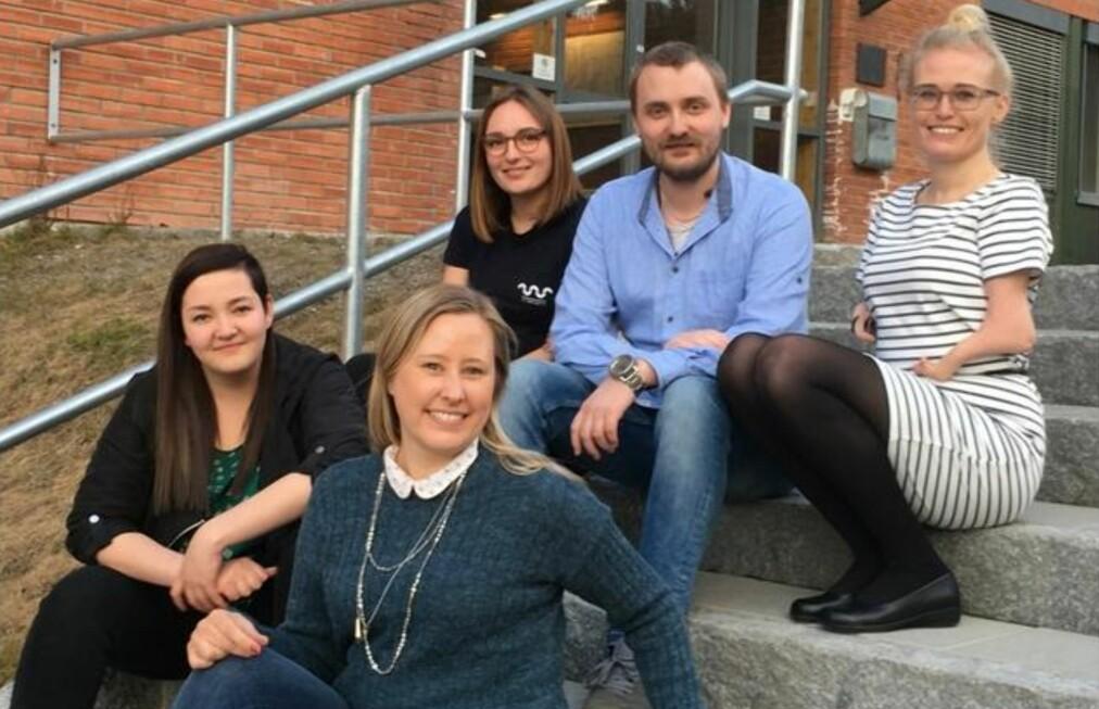 Det nye arbeidsutvalget på HSN. Fra venstre: Camilla Rønnevik, Elin Gravningen, Thérèse Verheyleweghen, Kim Hellevammen og Anna Run Kristjansdottir. Foto: SDSN
