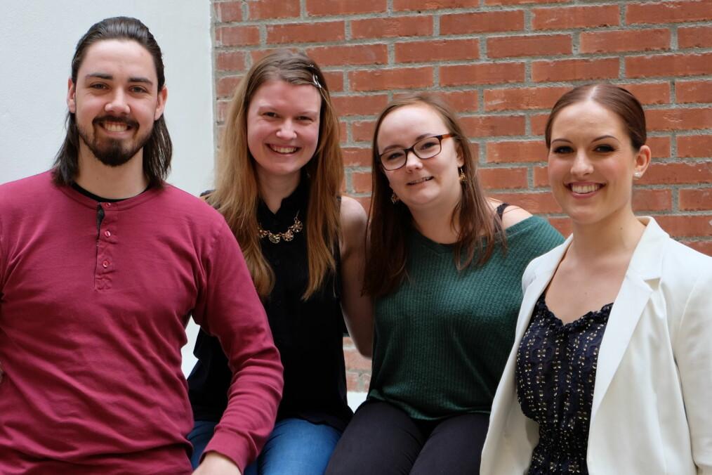 Med seg i arbeidsutvalget får Garborg: Egle Juodziukynaite (fagpolitisk), Jeanett Andersen (velferdspolitisk) og Vilde Henningsgård (nestleder). Foto: SP OsloMet