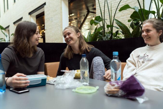 Frida Sagen, Maria Nora Watne og Carolin Vormeland sier ingen av dem sliter særlig med nerver før eksamen. De mener trikset er å ufarliggjøre det. Foto: Ketil Blom Haugstulen