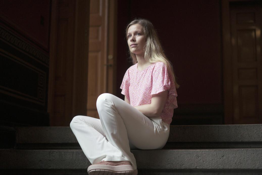 Studentleder på Det juridiske fakultet ved Universitetet i Oslo, Maria Conradi, er opprørt over forslag om nye eksamensregler og mener at studentene ikke blir hørt. Foto: Ketil Blom Haugstulen