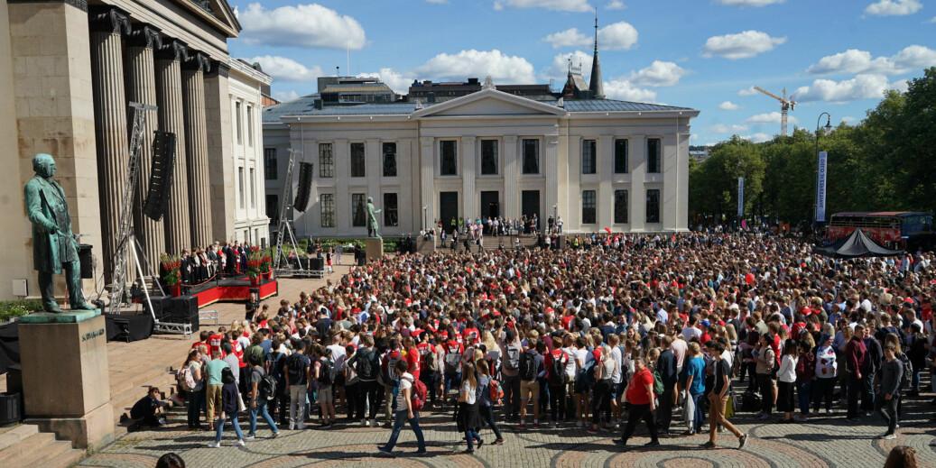 Studiestart ved Universitetet i Oslo høsten 2017. Fortsetter trenden er det bare 3 av 10 av bachelorkandidatene blant disse førsteårstudentene som er ferdig på normert tid, våren 2020. Foto: Ketil Blom Haugstulen