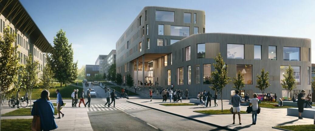 UiT Norges arktiske universitet er i gang med å bygge nytt bygg for lærerutdanningen sin, og har lånt 147 millioner kroner av sine egne avsetninger, men klarer likevel ikke å bruke opp alle pengene sine hvert år og planlegger nå flere tiltak for å få ned de ubrukte midlene. Illustrasjon: Statsbygg