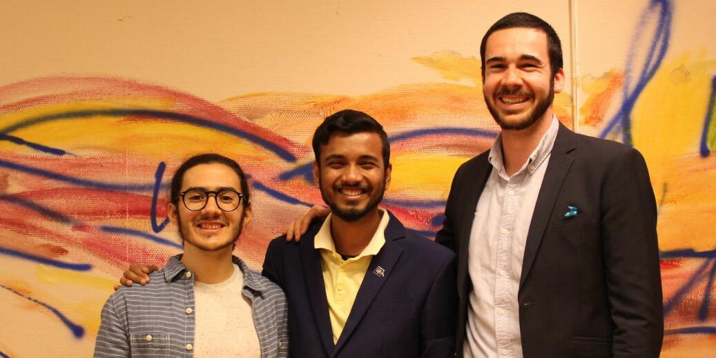 Jose de Pool, the new president of ISU, with political affairs officer Almim Hossain Shuvo and union development officer, Sam Davis. Photo: ISU