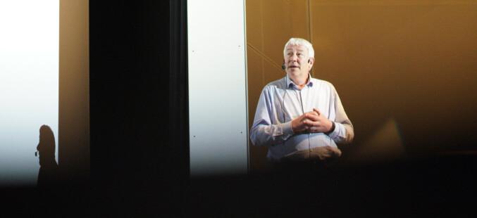 Organisasjons- og virksomhetsdirektør Tore Hansen under allmøtet 28. mai. Foto: Ketil Blom Haugstulen