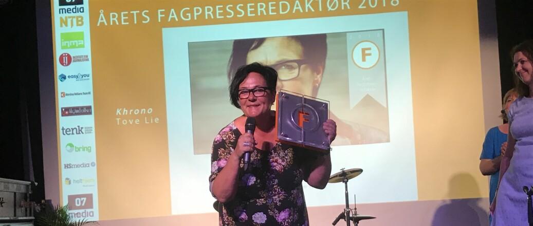Tove Lie, redaktør i Khrono og årets fagpresseredaktør. Foto: Eva Tønnessen