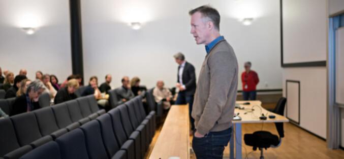 Rektor Curt Rice på allmøte på Kjeller i januar i år, der også flytting til Lillestrøm var tema. Foto: Ketil Blom Haugstulen