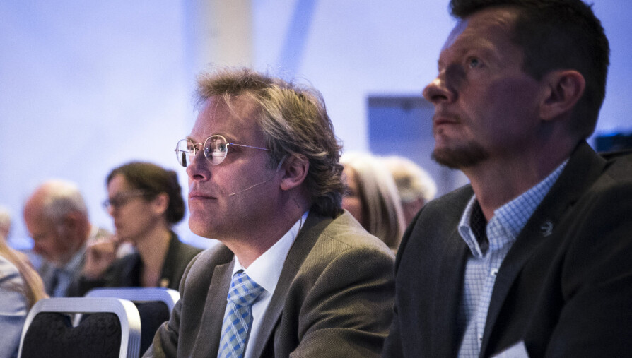 Tilsynsdirektør Øystein Lund (t.v.) og adm.dir i NOKUT, Terje Mørland har fulgt Nord universitet tett siden før dag én. Foto: Henriette Dæhlie