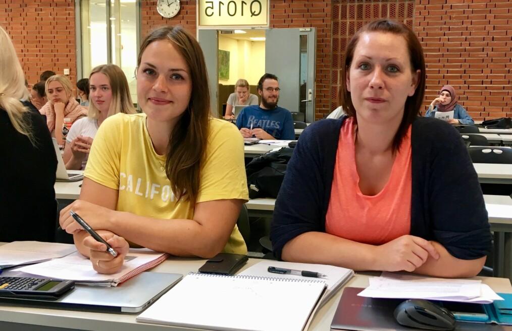 Linn Benedicte Plassen (33) og Maria Blix (28) søker grunnskolelærerutdanning 1.-7. trinn. Foto: Øystein Fimland