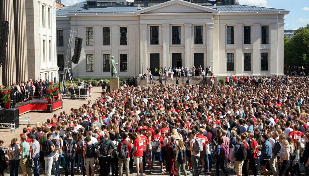 Mandag åpner Universitetet i oslo sitt studieår på Universitetsplassen i Oslo sentrum. Foto: Ketil Blom Haugstulen