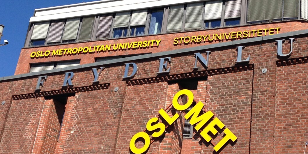 Skilting ved hovedinngangen til campus Pilestredet i Oslo. Foto: Nils Martin Silvola