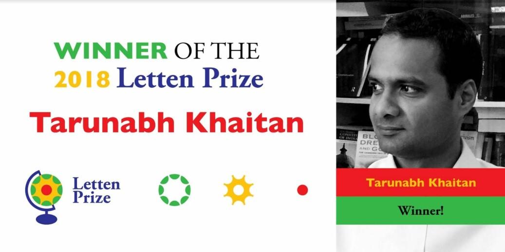 Foto: Tarunabh Khaitan er første vinner av Lettenprisen. Foto: Lettenprize.com