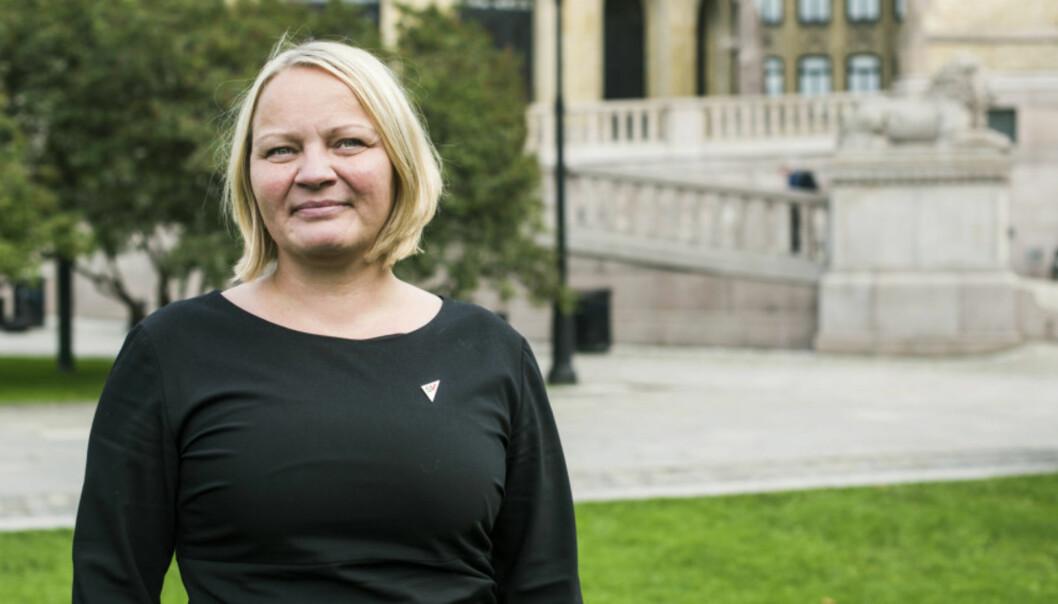 SVs Mona Fagerås fremmer forslag om at OsloMet skal få løfter innfridd knyttet til satsing på tegnspråk. Foto: SV