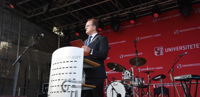 Rektor Frank Reichert ved Universitetet i Agder. Foto: UiA