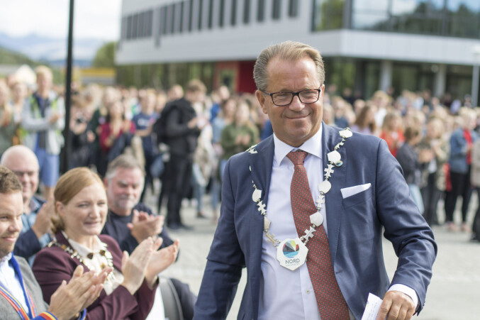 Rektor Bjørn Olsen i farta ved studiestart i Bodø. Foto fra Nord: Svein-Arnt Eriksen