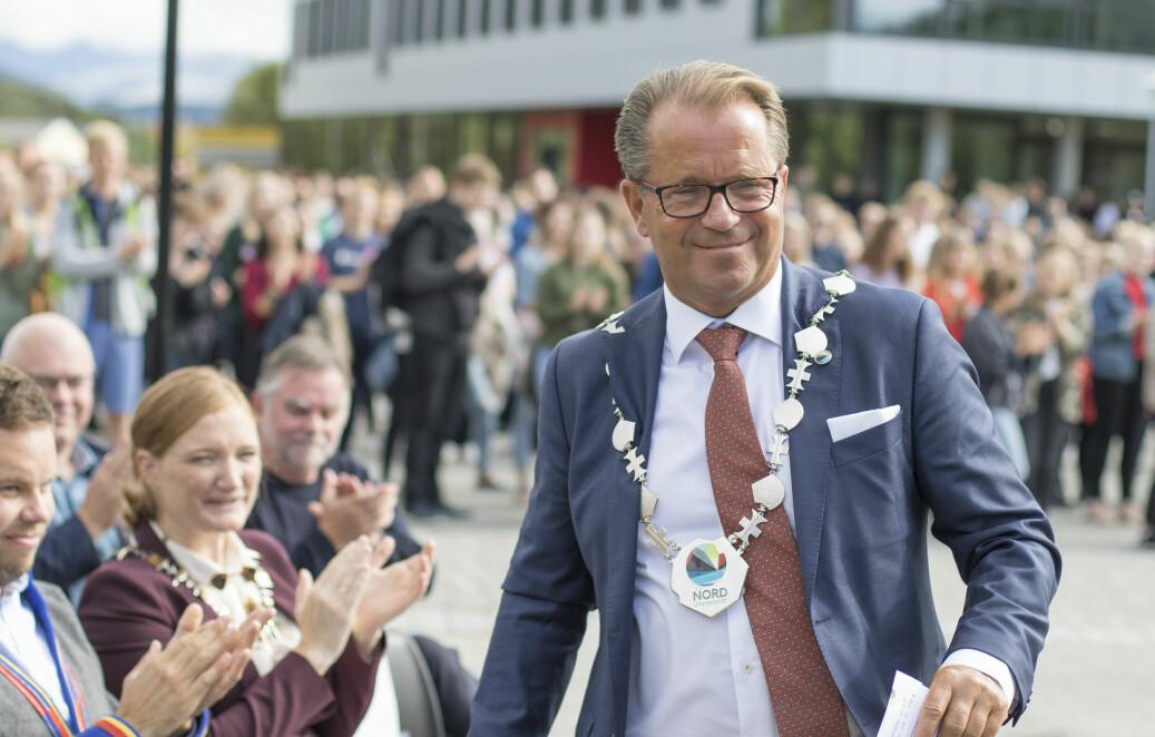 Rektor Bjørn Olsen ved Nord universitet i farta ved studiestart i Bodø tidligere i år. Foto Svein-Arnt Eriksen, Nord universitet
