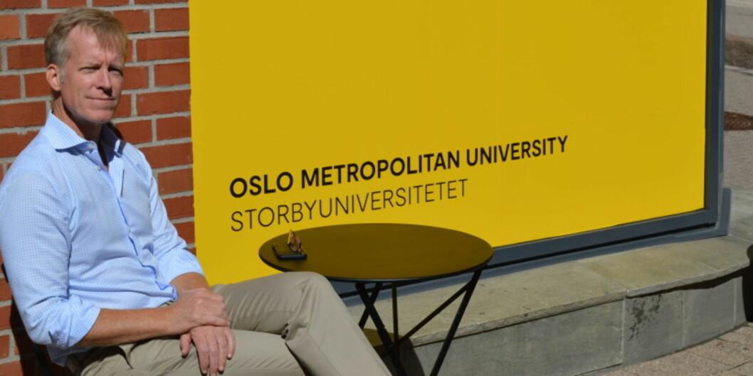 Vi ser fra bakgrunnstallene i undersøkelsen at OsloMet er best likt i vårt nærområde Oslo og blant de yngste aldersgruppene der vi finner mange av studentene våre, sier rektor Curt Rice ved OsloMet — storbyunviersitetet. Foto: Nils Silvola