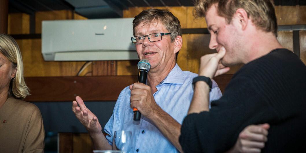 UiO-rektor Svein Stølen på en debatt i Arendal, om hvorvidt universitets- og høgskolesektoren skal styres med pinsett eller høygaffel. Foto: Siri Øverland Eriksen.