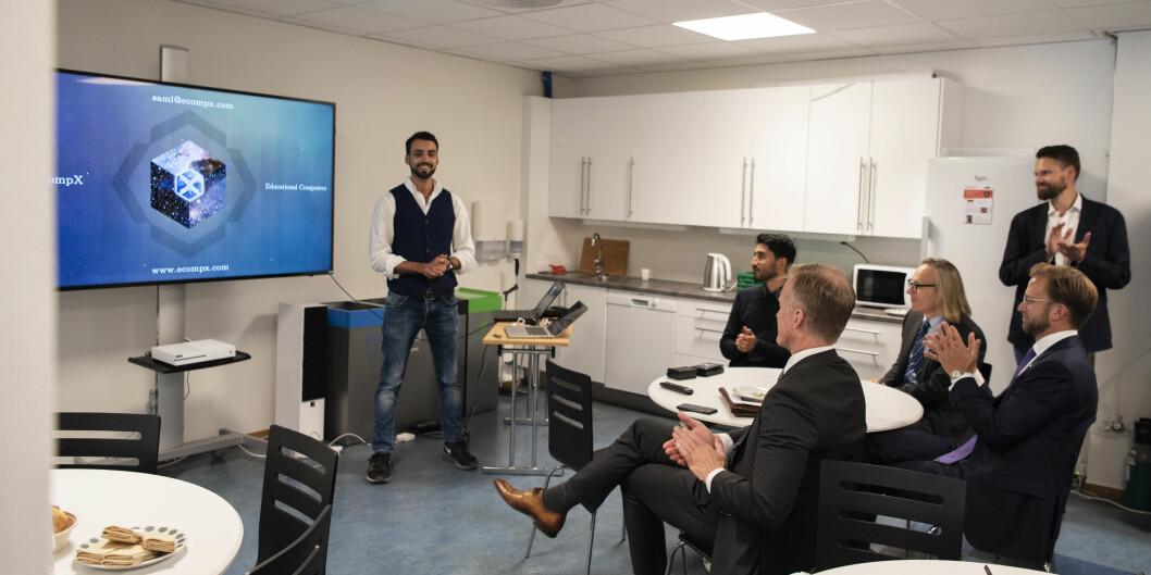 Utviklingsminister Nikolai Astrup besøkte OsloMet sist fredag og snakket blant annet om en digital strategi for norsk utviklingsarbeid. Foto: Sonja Balci, OsloMet