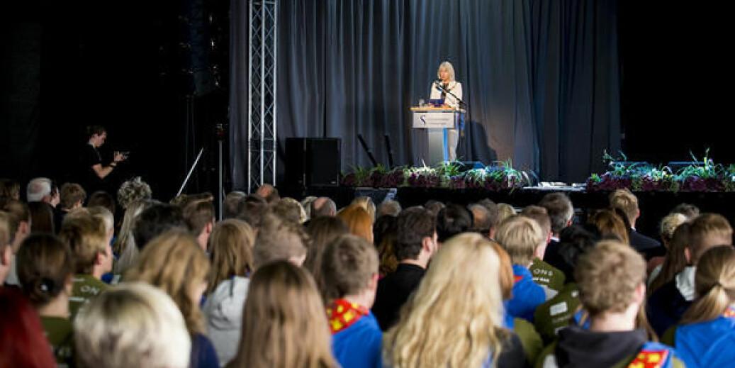 Rektor Marit Boyesen ved Universitetet i Stavanger holdt hele sin velkomtstale til nye studenter på engelsk i år. Det liker språkrådet dårlig. Foto: UiS