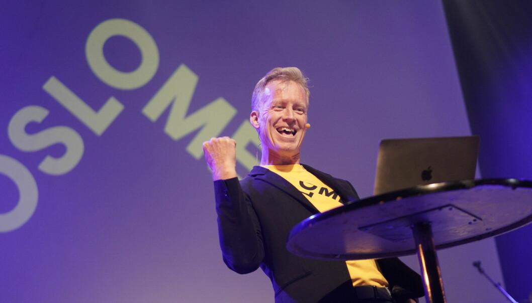 Curt Rice søker fire nye år som OsloMet-rektor. Her sparker han i gang det akademiske året på Rockefeller i Oslo torsdag kveld. Foto Ketil Blom Haugstulen