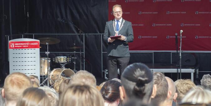 Rektor Frank Reichert ved studiestart på campus Grimstad i august. Foto: Saara Ojanen