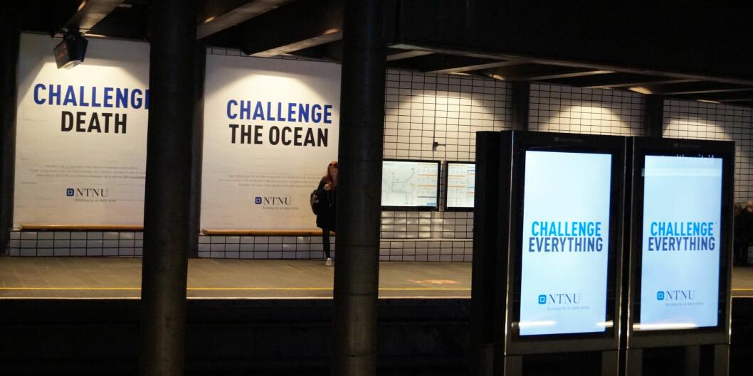 NTNU har brukt 9 millioner kroner på den såkalte «Challenge»-kampanjen. Den har over 100 forskjellige budskap. Foto: Brage Lie Jor