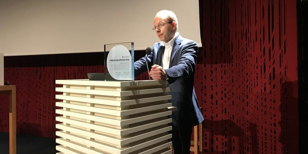 Forskningsrådets formidlingspris 2018 til Bjørn H. Samset. Foto: Eva Tønnessen