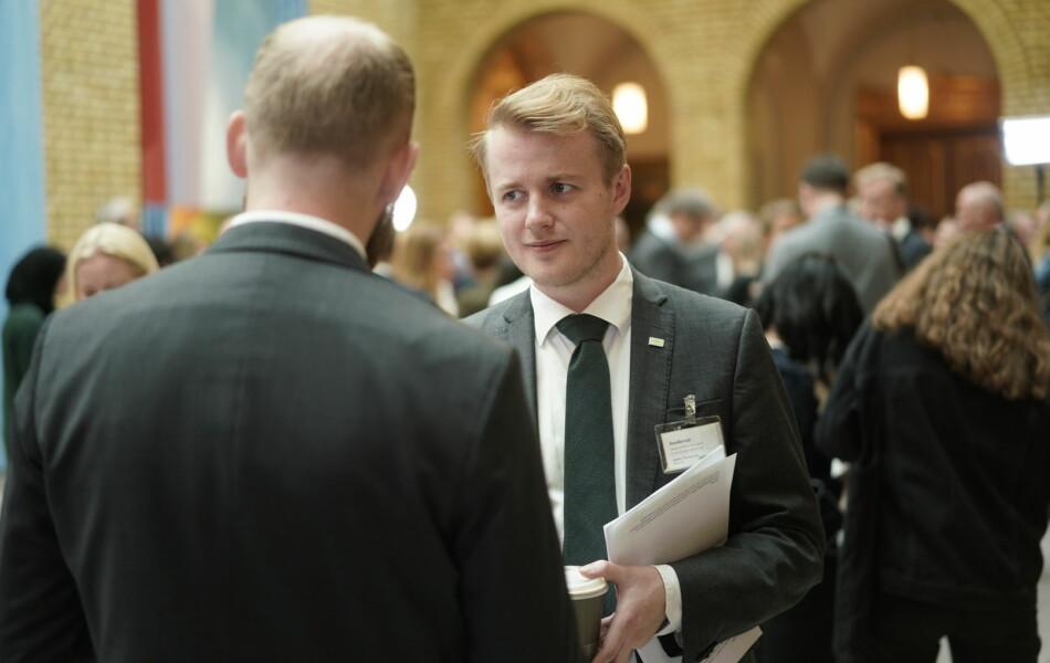 Leder i Norsk studentorganisasjon (NSO), Håkon Randgaard Mikalsen, er ikke fornøyd med forslag til statsbudsjett. Foto: Ketil Blom Haugstulen