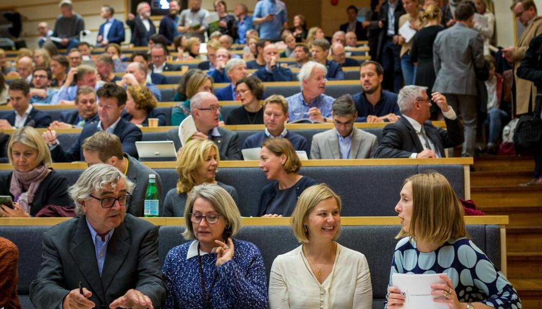 Ledere innen akademia på plass for å høre om revidert langtidsplan for forskning og høyere utdanning mandag 08. oktober. Foto: Siri Øverland Eriksen