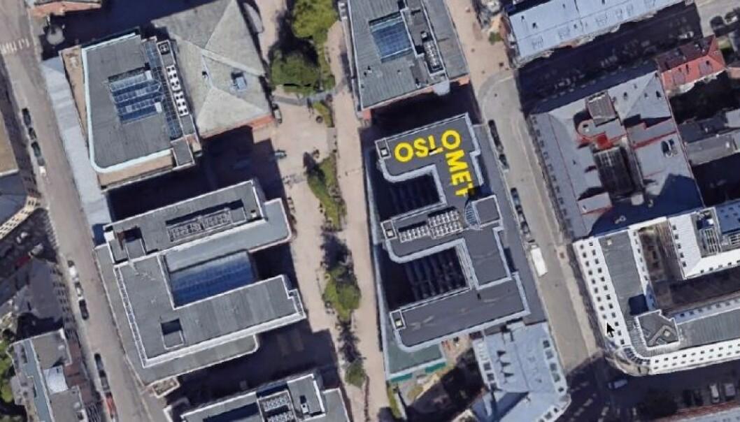 Den største OsloMet-logoen av dem alle blir å finne på taket av Pilestredet 42, hvis OsloMet får det som de vil. Foto: Faksimile byggesøknad