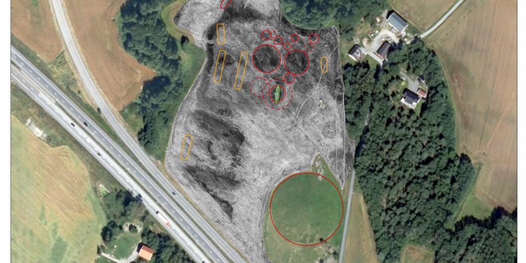 Dette fotoet viser kor det vart funne spor etter vikingtida. Gjelletadskipet er i det grøne området til høgre. Foto: NIKU