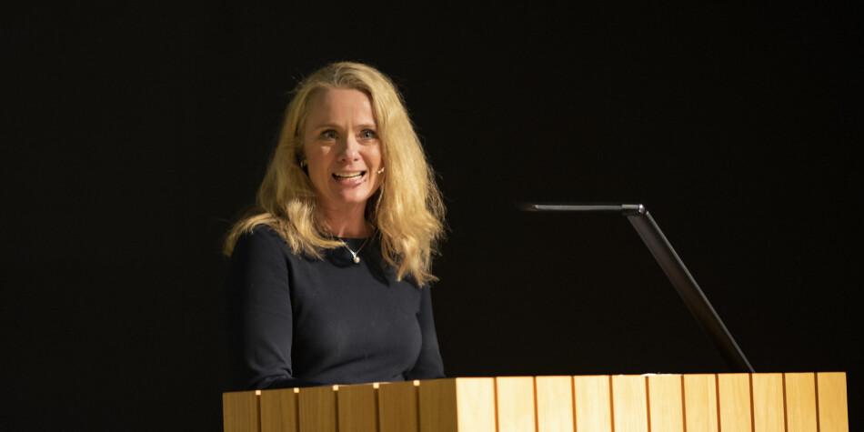 Arbeids- og sosialminister Anniken Hauglie deltok på jubileumskonferansen på Diakonhjemmet. Foto: Diakonhjemmet