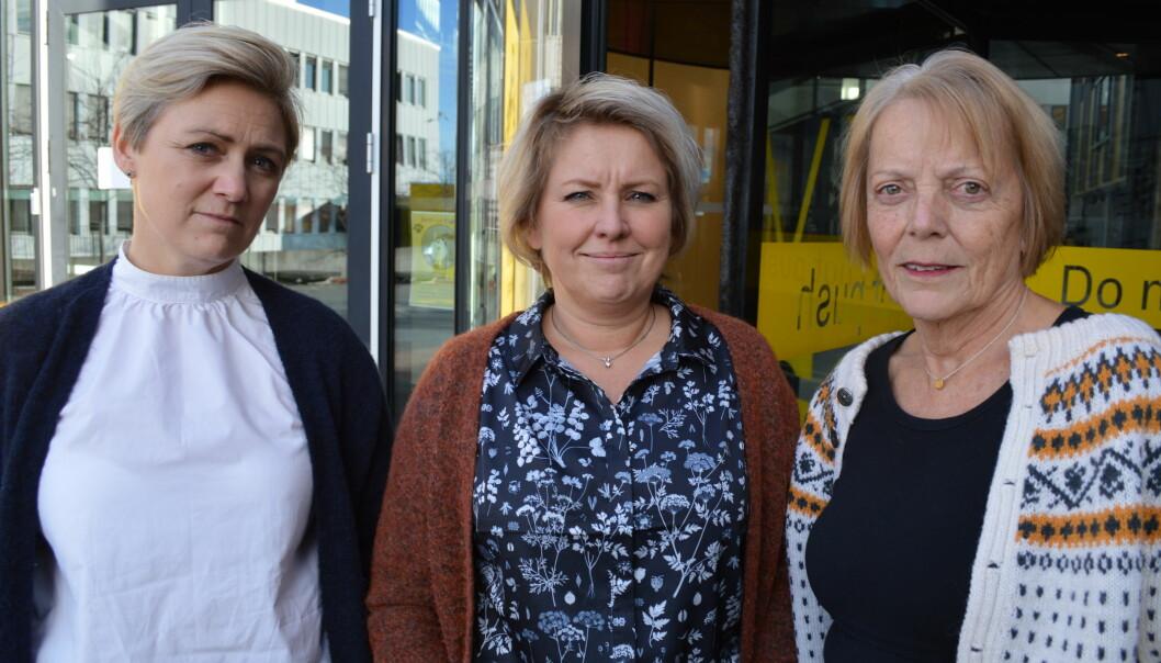OsloMet-ansatte på Kjeller: Kari Anne Hakestad, Line Aasen og Kirsten Vistnes. Foto: Eva Tønnessen