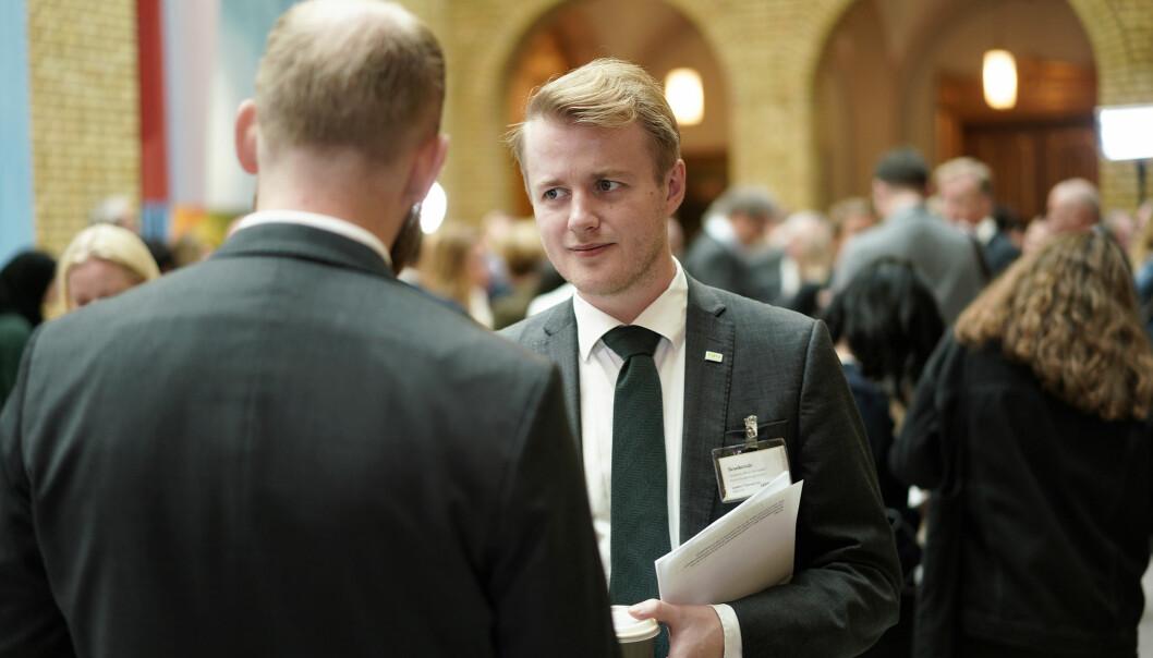 Betenkt leder av Norsk studentorganisasjon (NSO) da statsbudsjettet ble lagt fram i oktober. Foto: Ketil Blom Haugstulen