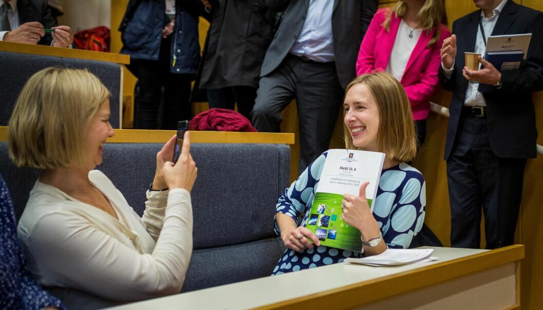 Statsråd Iselin Nybø da den reviderte langtidsplanen ble lagt fram 8. oktober 2018. Foto: Siri Øverland Eriksen