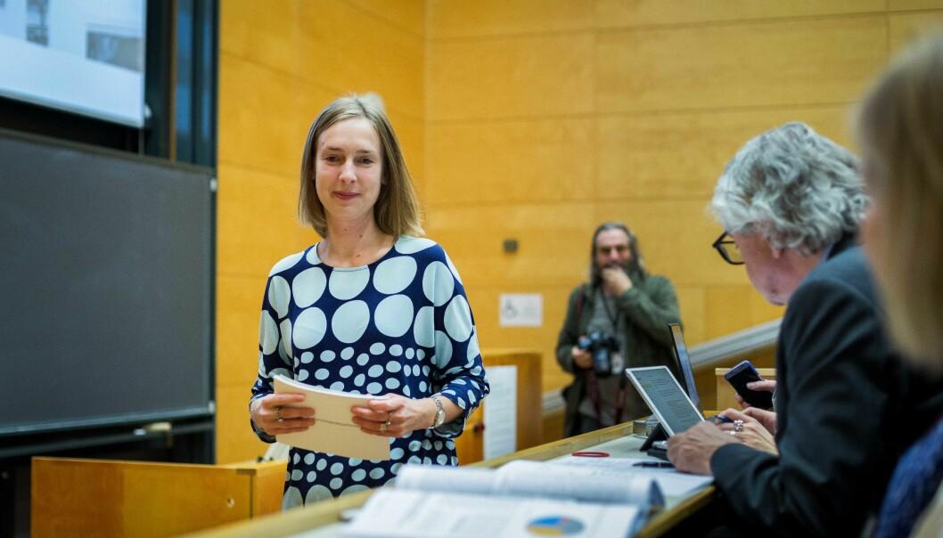 Iselin Nybø presenterer revidert utgave av langtidsplanen for forskning og høyere utdanning, oktober 2018. Foto: Siri Øverland Eriksen