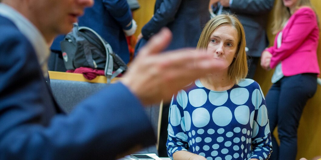 Statsråd Iselin Nybø la fram statsbudsjett og langtidsplan for forskning og høyere utdanning i høst, med litt blandet mottakelse. Foto: Siri Øverland Eriksen