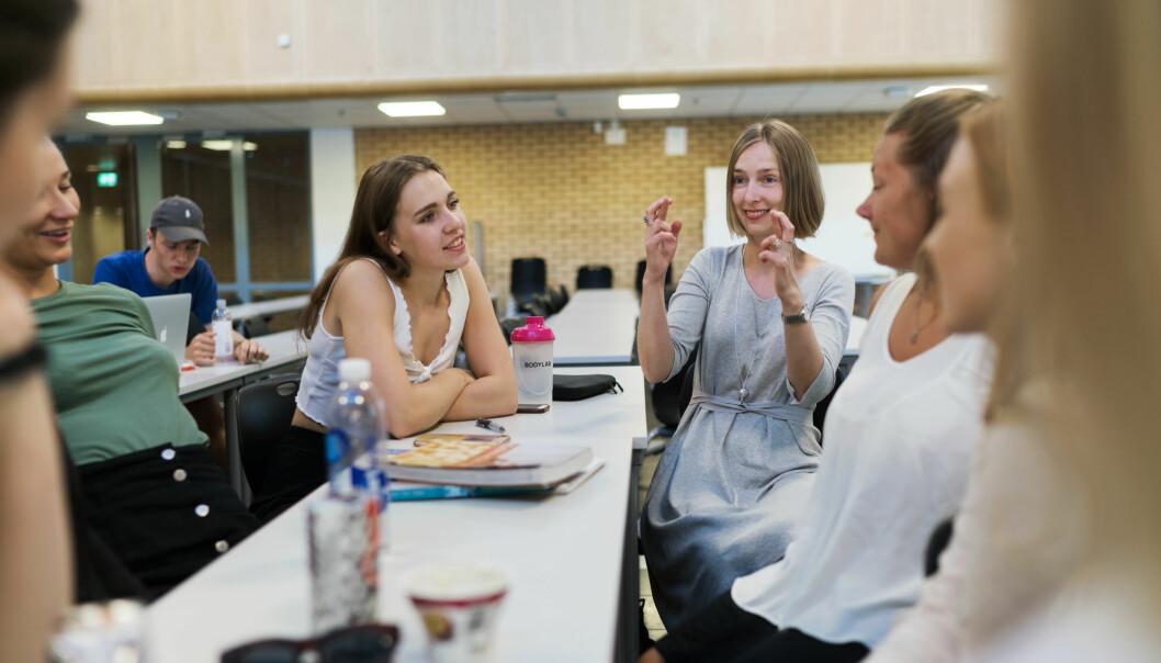 Forsknings- og høyere utdanningsminister Iselin Nybø på et av de nå avviklede forkursene i matematikk for lærerstudenter. Foto: Ketil Blom Haugstulen