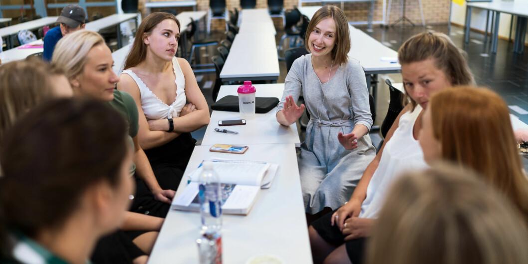 Statsråd Iselin Nybø møtte potensielle lærerstudenter ved OsloMet i fjor sommer under starten på forkurset i matte. Arkivfoto: Kjetil Blom Haugstulen