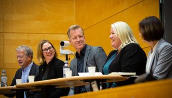 F.v. Johan Tønnesson, Audhild Gregoriusdotter Rotevatn, Curt Rice, Marit Kristiansen og Åse Gornitzka i panelsamtale om norsk fagspråk. Foto: Runhild Heggem