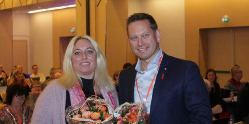 Vegard Einan er valgt som ny leder i Parat og Unn Kristin Olsen er valgt som ny nestleder. Foto: Trygve Bergsland/Parat.