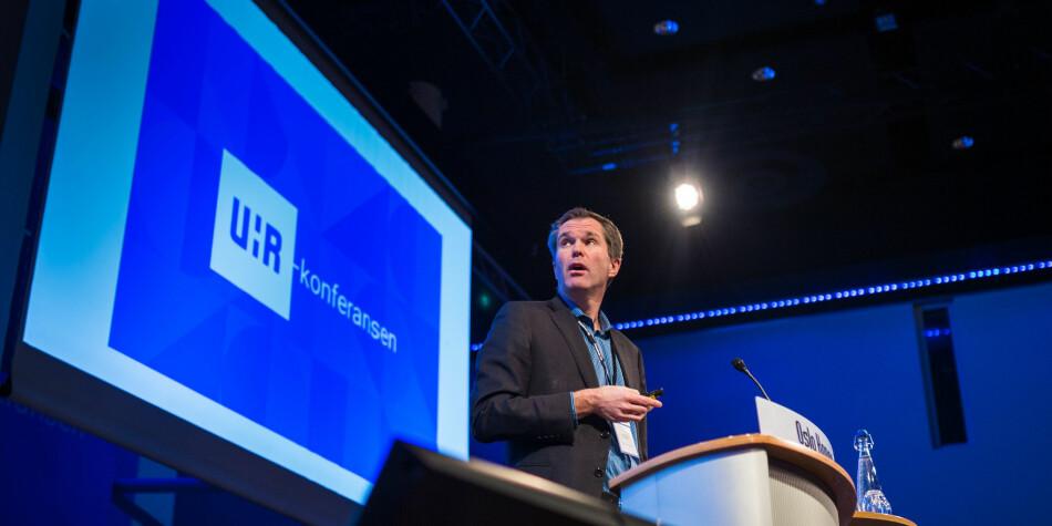 Forskningsrådets administrerende direktør John-Arne Røttingen innledet om Plan S på UHR-konferansen. Foto: Siri Øverland Eriksen