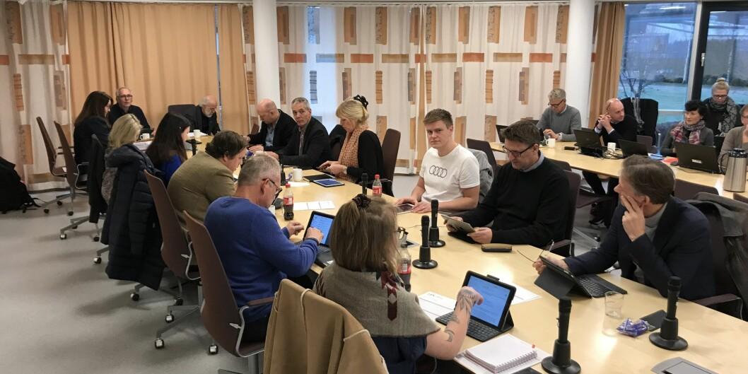 Styret for Universitetet i Sørøst-Norge samlet ved møtestart i Porsgrunn torsdag 22. november. Foto: Eva Tønnessen