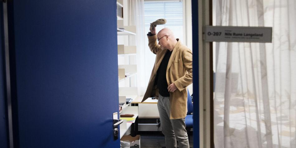 Uansett utfall i tingrettssaken i desember, kommer Nils Rune Langeland neppe tilbake til dette kontoret ved Universitetet i Stavanger. Han vil ha avskjeden fra UiS erklært ugyldig, men vil ikke ha jobben tilbake, går det fram i argumentene fra hans advokat. Foto: Marie von Krogh, NTB Scanpix