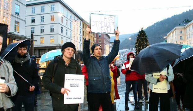 Studentprotest i Bergen. Foto: Njord V. Svendsen