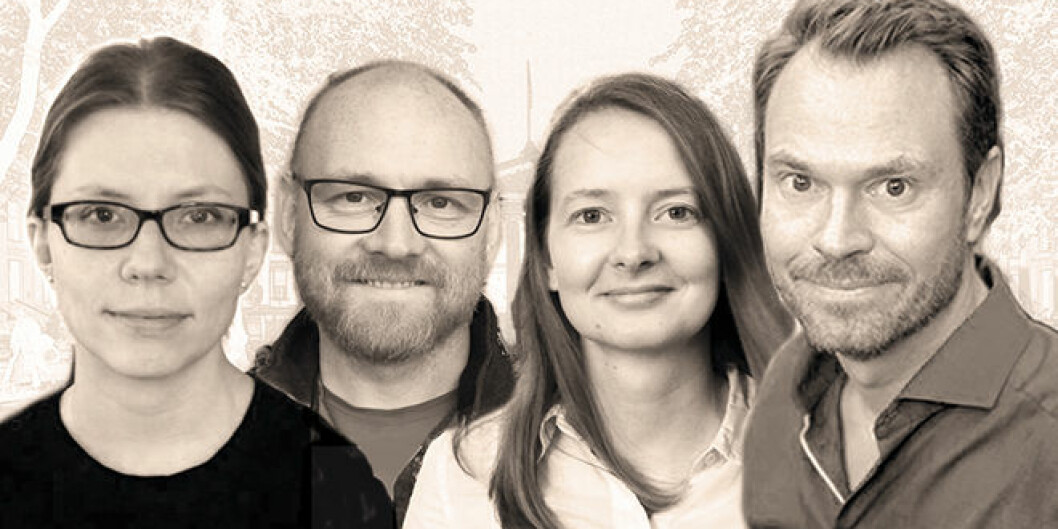 De fire nye ERC Consolidator Grants-vinnerne ved Universitetet i Oslo er (f.v.): Veronique Pouillard, Torkild Hovde Lyngstad, Ingunn Kathrine Wehus og Henrik Daae Zachrisson. Foto: UiO.